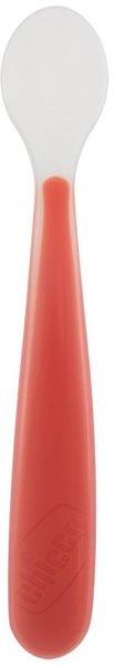 CHICCO Бебешки мека силиконова лъжичка - червена 6м+ 0414